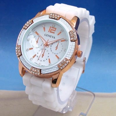 Geneva White with Gold Women's Faux Chronograph Silicone Rubber Jelly Watch with CZ Crystal Rhinestones Face Bling Bezel-White/Gold