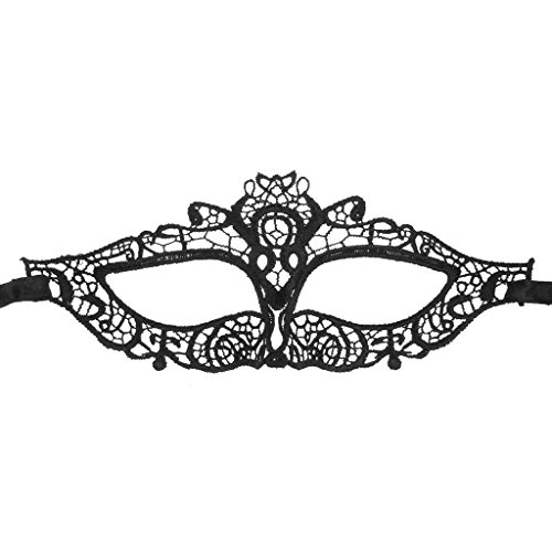 Elegant Hollow Lace Mask of Cat Eye Design for Halloween Masquerades Party -Black