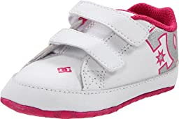 DC Girls\' Court Graffik Crib Infant Skate, White/Pink