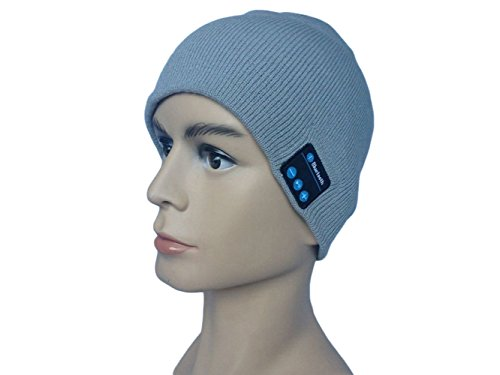 Visionwide® Wireless Bluetooth Knit Hat Receiver Headphone Speaker Microphone Beanie Hat Cap Headset (Gray)