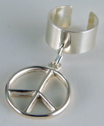 Peace Symbol on an Ear Cuff in Sterling Silver