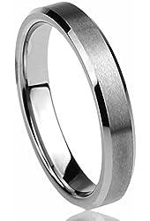 4MM Titanium Comfort Fit Wedding Band Ring Beveled Edges Brushed Classy Ring (5 to 12)
