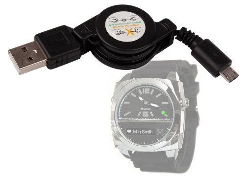 Duragadget Retractable Usb Charge Cable For Martian G2G, Passport And Victory Smartwatches