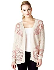 Limited Collection Cotton Rich Floral Textured Cardigan