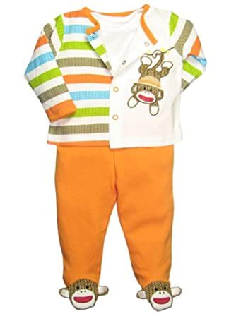 Baby Boy 3 Piece Striped Sock Monkey Footed Pants Outfit by Baby Starters
