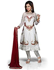 Utsav Fashion Women's Off White Net Readymade Double Layered Anarkali Churidar Kameez-X-Small