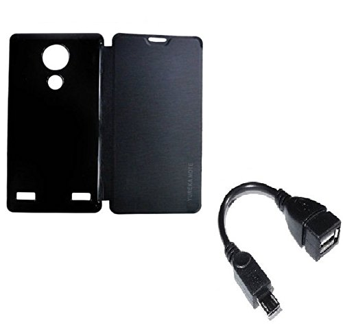 RealDealz Durable PU Leather Flip Cover For Yu Yureka Note (Black)+Micro Otg Cable Free
