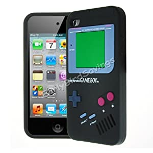 EarlyBirdSavings Black Game Boy Style Silicone Case Cover Skin For iPod Touch 4