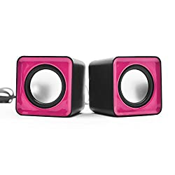 ANKGLEAS Mini Portable Classic Multimedia Speaker Powered by USB 2.0 and 3.5mm Jack for Sound Output (Pink/Black) - 2 Years Warranty