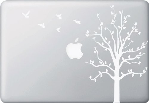 New Apple Tree with Birds - WHITE - Macbook or Laptop Decal