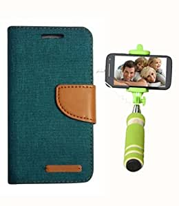 Aart Fancy Wallet Dairy Jeans Flip Case Cover for OnePlusOnePlus2 (Green) + Mini Fashionable Selfie Stick Compatible for all Mobiles Phones By Aart Store