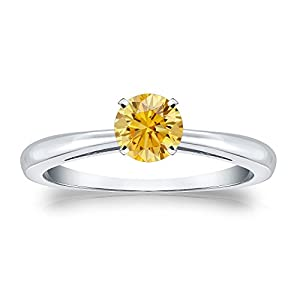 1/2 cttw Round-cut Yellow Diamond Solitaire Ring in 18K White Gold, Size 4