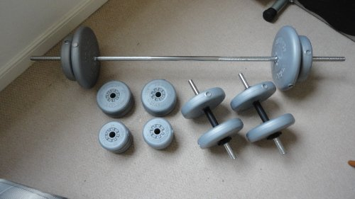 York Spinlock Vinyl Barbell/Dumbbell Weights Set - 50kg