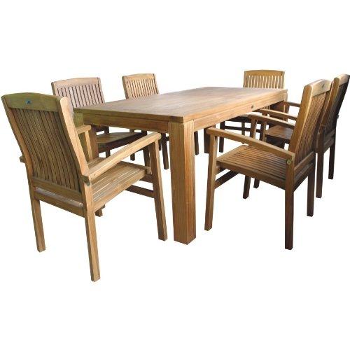 Sitzgruppe-Holz-180x90x75cm-Tisch-6x-Sessel-Teak-Balkon-Terrasse-Gartengarnitur