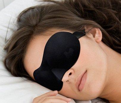 立体型の安眠アイマスク(黒・ブラック) + 耳栓付き/V180