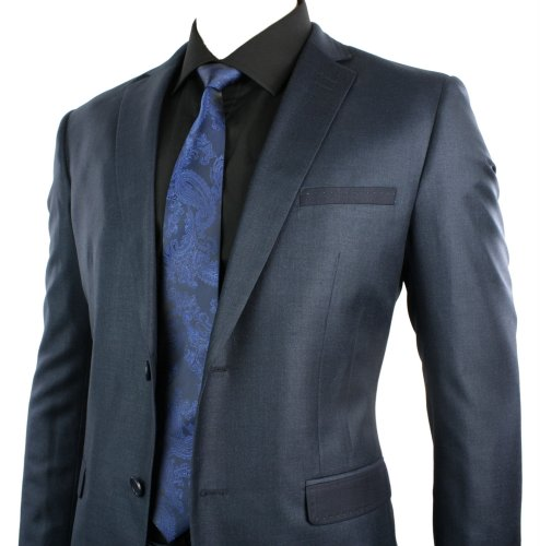 Mens Slim Tailored Fit Suit Shiny Navy Blue 2 Button Stitch Trim Wedding Office or Party Suit