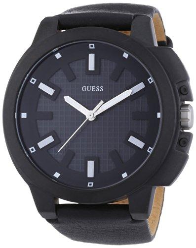 Guess  0382G1 - Reloj de cuarzo para hombre, con correa de cuero, color negro