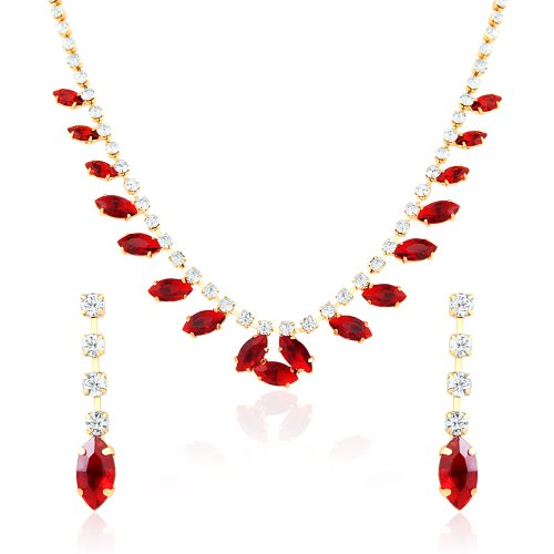 Oviya Fashion Jewellery White & Red Necklace Set With Crystal For Women NL2103174G