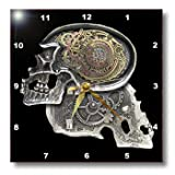 3dRose dpp_102675_3 Steampunk Gothic Faux Metal Skull Image Wall Clock, 15 by 15-Inch