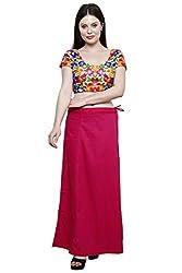Pistaa Women's Cotton Dark Pink Colour Inskirt Saree petticoats
