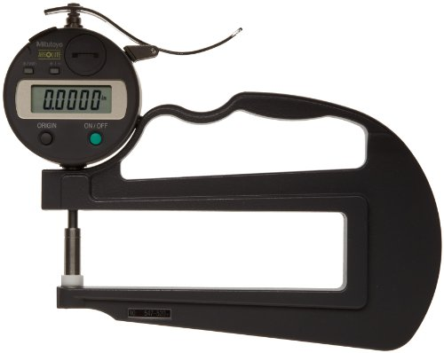 Mitutoyo 547-520 Digimatic IDS Thickness Gage, Flat Anvil, Deep Throat Type, 0-0.47