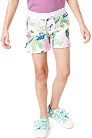 Pure Cotton Hibiscus & Leaf Print Shorts with Stay New&#8482;