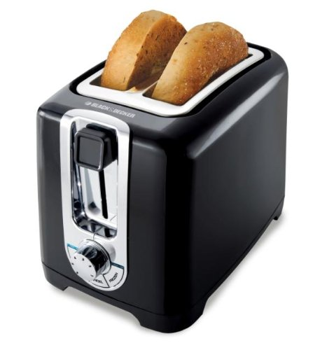 Black & Decker TR1256B 850-Watt 2-Slice Toaster with Bagel Function and Removable Crumb Tray