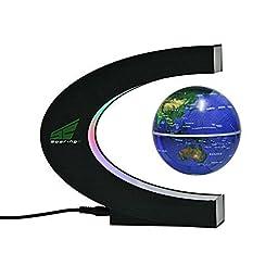 Magnetic Levitation Floating World Map Globe with LED Lights for Learning Education Teaching Demo Home Office Desk Decoration (C Shape + Blue Globe) by SoaringE