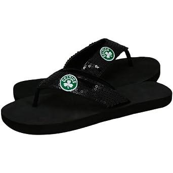 NBA Boston Celtics Ladies Black Sequin Strap Flip Flops by For Bare Feet