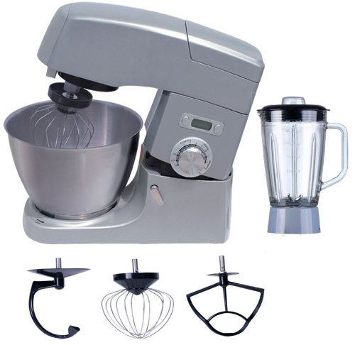 Vivo X5 Die Cast Professional Series 1000W Electric Pro Food Stand Mixer & Blender Machine with Splash Guard / 5.5 litre Bowl / Dough Hook / Mixer Blade / Egg Whisk - Metallic Silver - 30 Day 100% Money Back Guarantee if not completely satisfied by Vivo