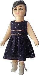 Bisbasta Baby Girl Round Neck Brown Cotton Frock (6 to 12 Months)