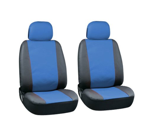 Pu Faux Leather Seat Covers Full 6 Piece Set Blue And Black For Car Truck Suv Van front-831547