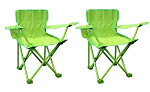 PAIR OF CHILDREN'S KIDS GREEN FOLDABLE GARDEN CAMPING PICNIC BEACH CHAIRS SEAT