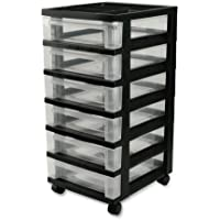 IRIS 6-Drawer Storage Cart with Organizer Top (Black)