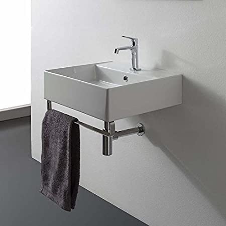 16 Inch White Ceramic Bathroom Sink, No Hole