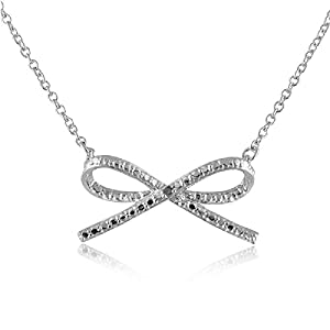 Sterling Silver Rhodium Plated Diamond Accent Bow Tie Pendant Necklace, 18