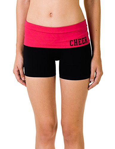 buy Activewear Apparel Tribal Foldover Shorts with 'Cheer' on Hip (Medium/Large, Red) for sale