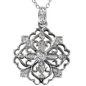 .25CT Filigree Antique Diamond Snowflake Pendant Necklace