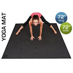 Buy Best Large Yoga Mat-Extra Long, Extra Wide 72-Inch X 72-Inch (6'x6') Yoga Mat. Ultra Thick & Dense 6mm Yoga Exercise... by Square36