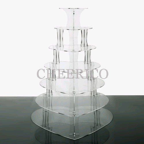 7 Tier Heart Acrylic Cupcake Stand Tower Cup Cake Display (Kitchen)