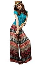 CA Fashion Womens BOHO Wide Leg Casual Pant Trouser