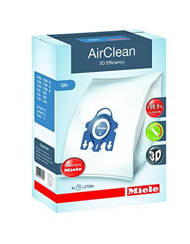 Best Review Of Miele 10123210 AirClean 3D Efficiency Dust Bag, Type GN, 4 Bags & 2 Filters