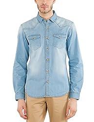 Highlander Men's Casual Shirt (13110001462372_HLSH008881_Large_Light Denim)