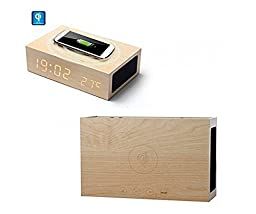 Emperor of Gadgets ® Wooden Eco-Friendly Multi-function Qi Wireless Charger + Alarm Clock LED Time, Date and Temperature Display + Bluetooth Wireless Stereo Home Speaker
