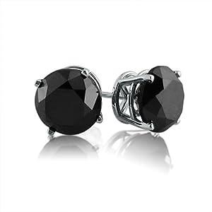 14K White Gold Round Black Diamond Stud Earrings (4.00 cttw)
