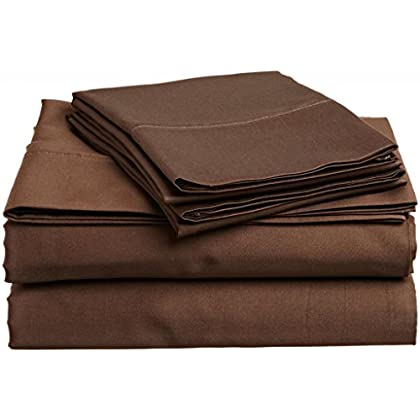 Chocolate Solid Egyptian Cotton 300TC Anjali Linen Twin 39X75 Inch Size Bed Sheet Set 6PCs Pocket Depth 15 Inch Drop deal 2015