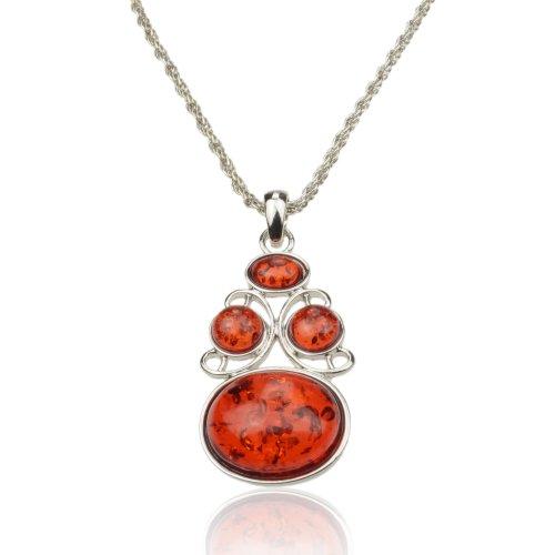 Women's Baltic Silver Vivid Faux Amber Gem Vintage Style Necklace Pendant B2935K