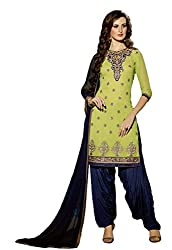 Sanchey Women's Georgette Unstitched Dress Material (754607_Parrot Green_Free Size)