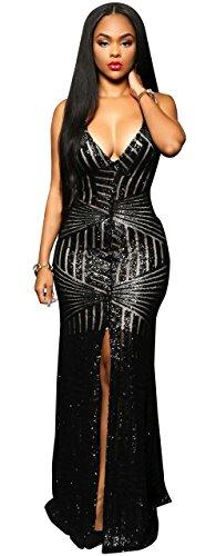 Kearia Women Short Sleeve Deep V-Neck Sequin Split Bodycon Cocktail Party Dress Long Black Medium