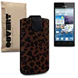 Huawei Ascend P2 Covert Branded Leopard Fur Pocket Case / Cover / Pouch